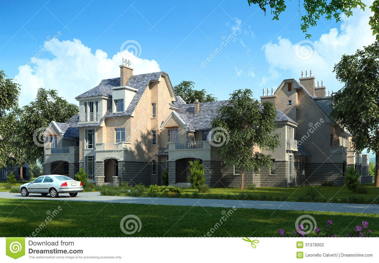 Classic luxury house exterior stock illustration for Luxury classic house