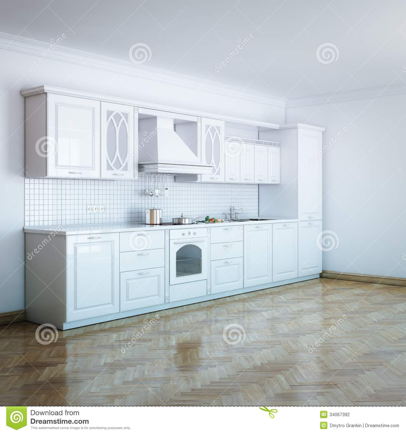 Classic luxury white kitchen design with hard wood stock for Luxury kitchen designs 2012