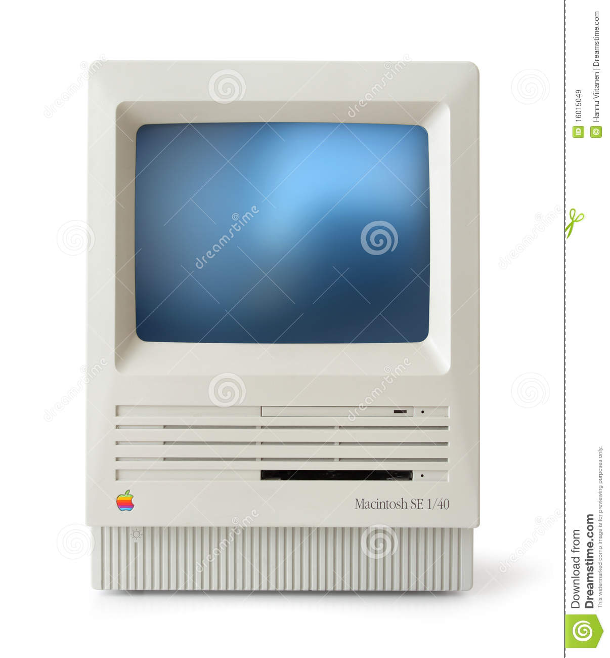 Original classic Apple Macintosh SE computer front, isolated on white.