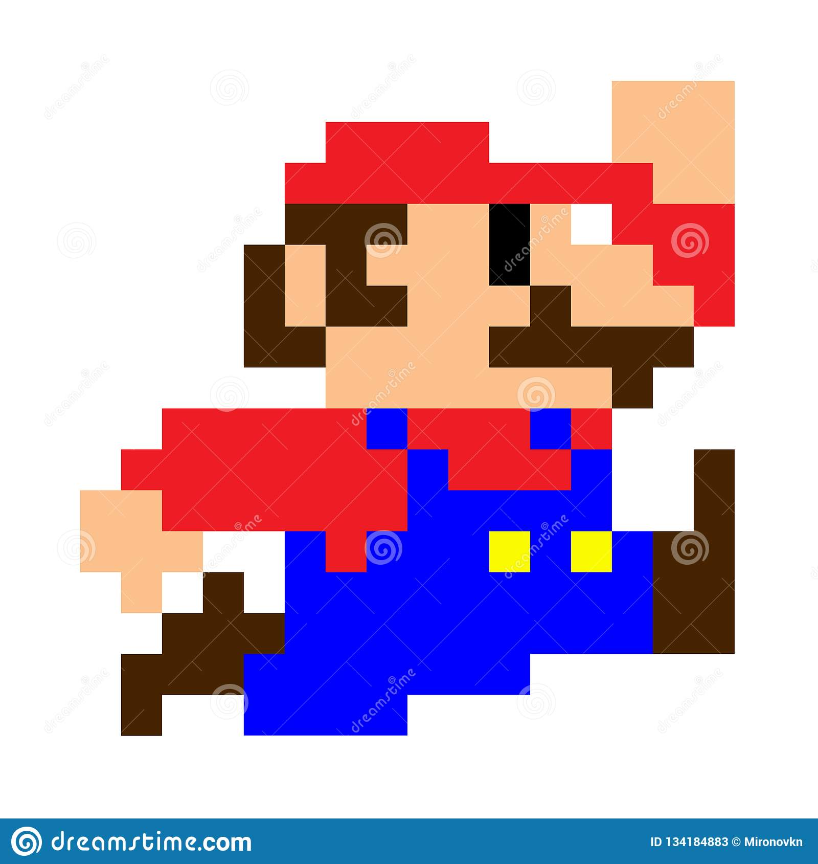 Classic Mario Bros Pixel Art Editorial Stock Photo