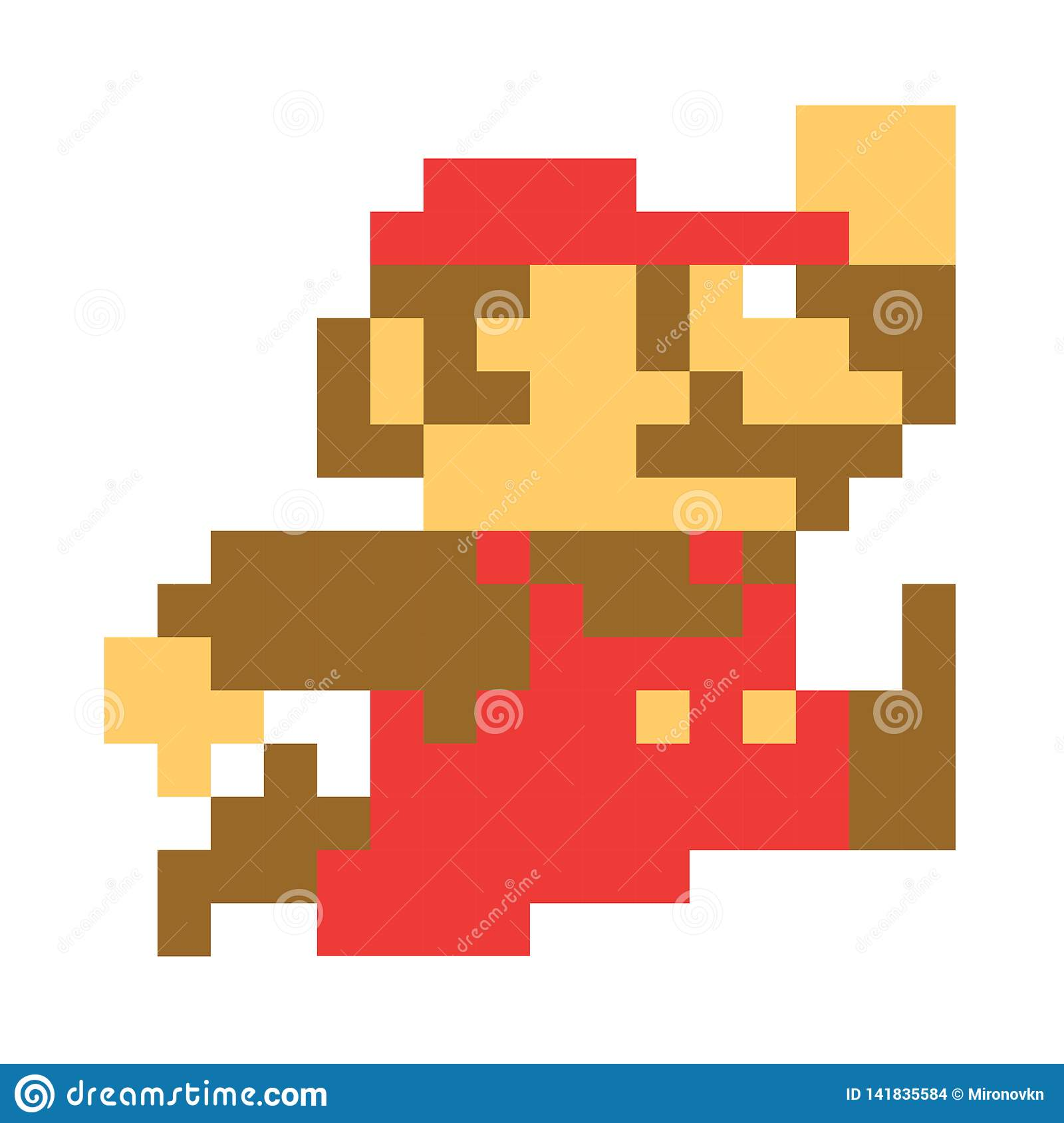 Classic Mario Bros Pixel Art Mario Character Video Game