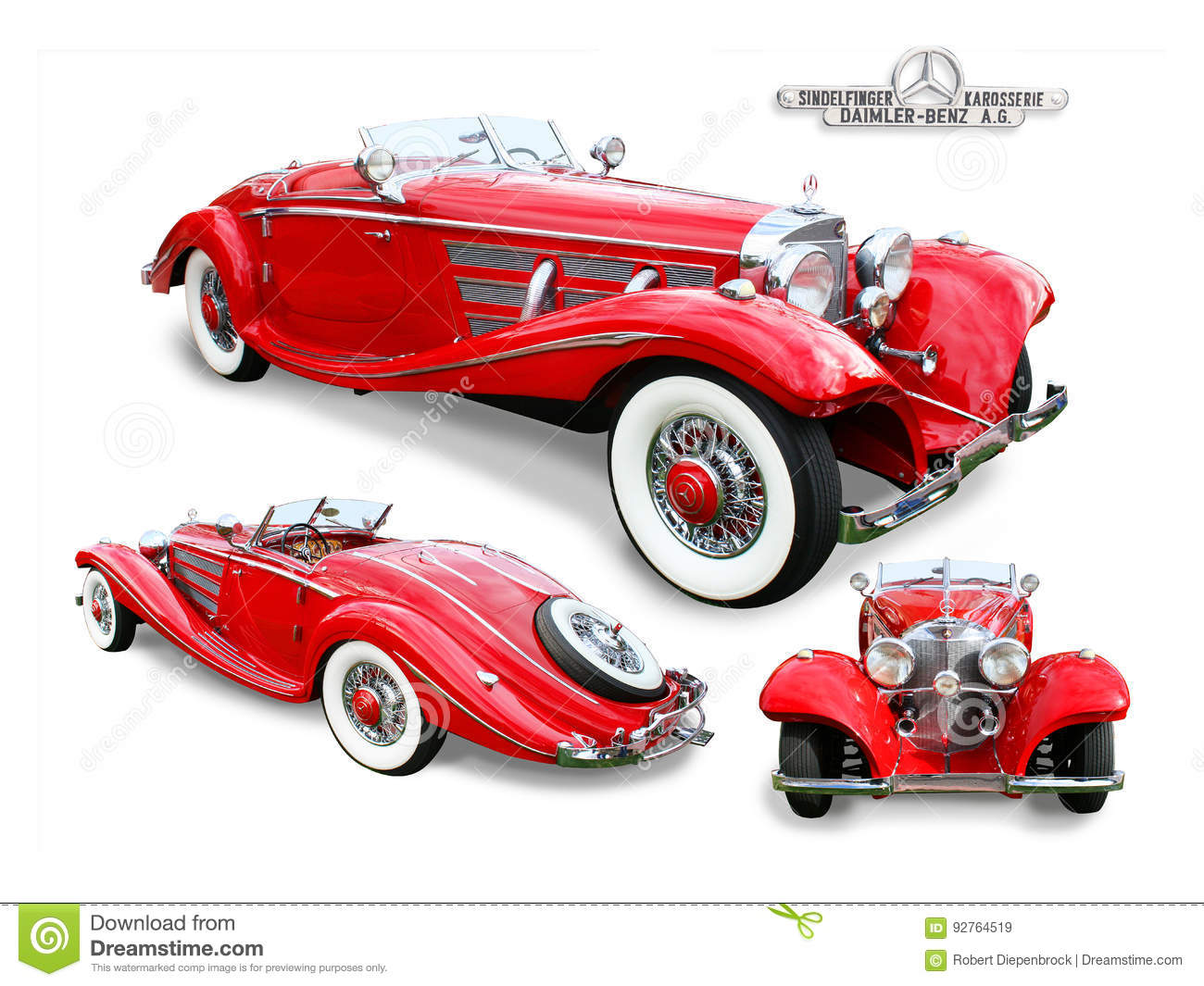Classic Mercedes Benz Special Roadster Isolated Editorial Stock