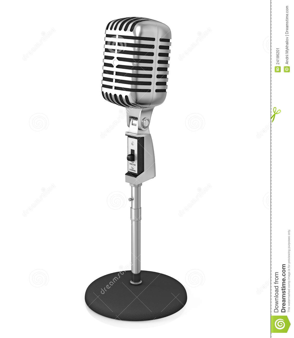 Classic Microphone On Black Stand Stock Image Image Of