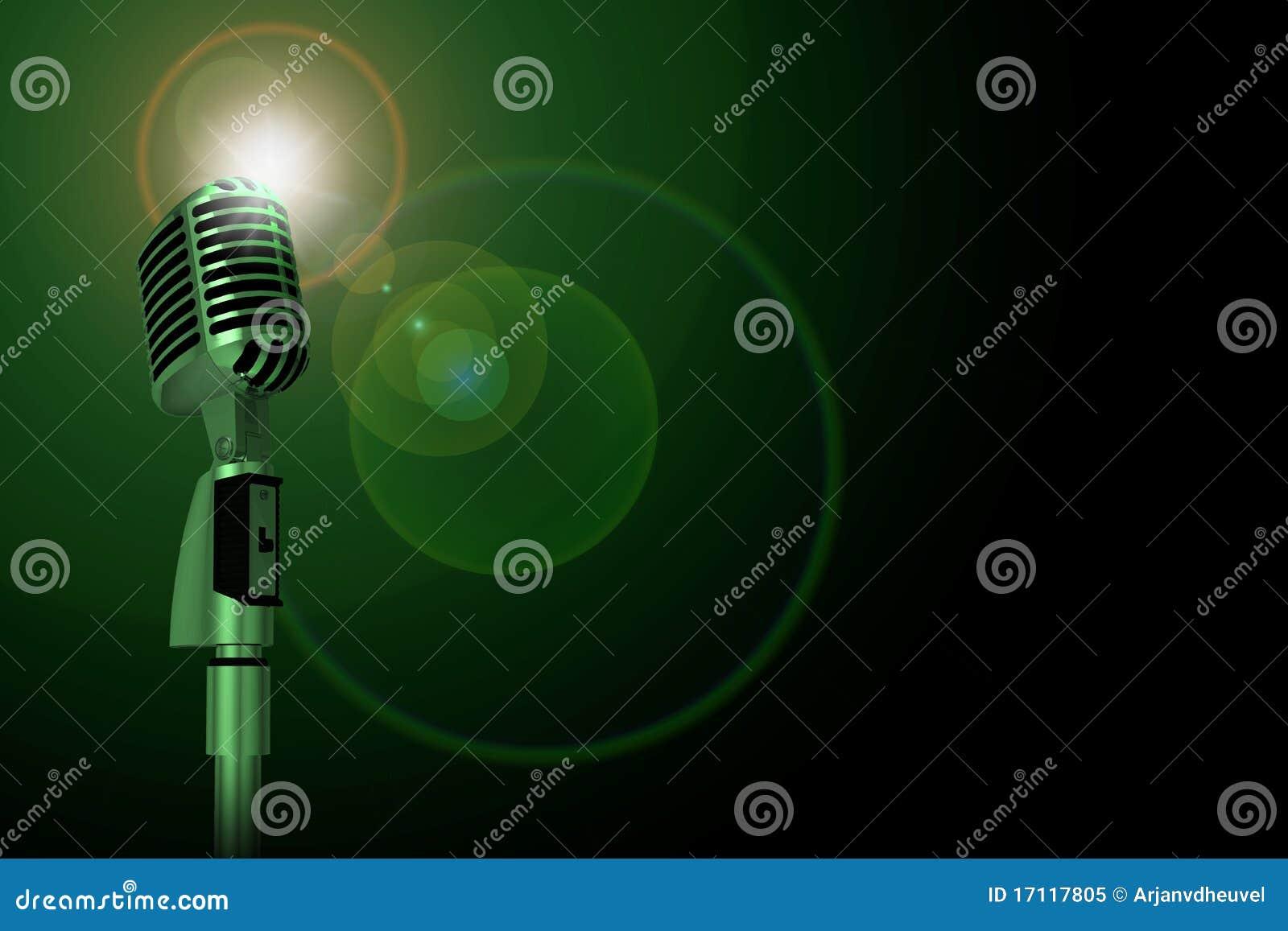 Classic microphone, green lighting