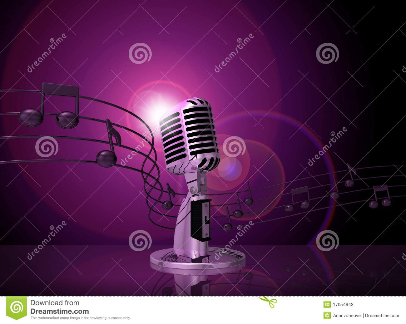 Classic microphone with pink lighting