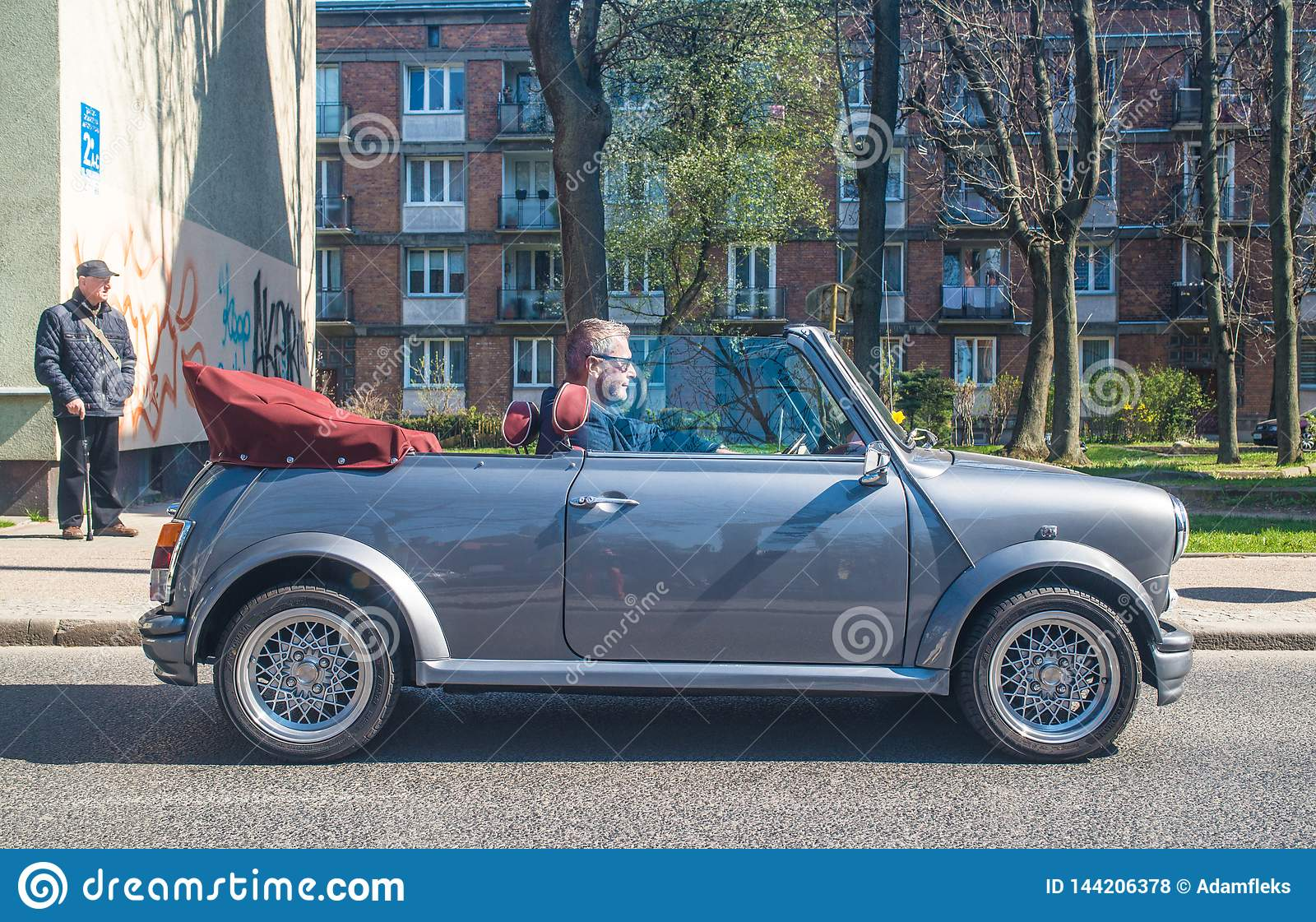 Classic Mini Cooper Convertible Driving Editorial Stock Photo Image Of Metal Common 144206378