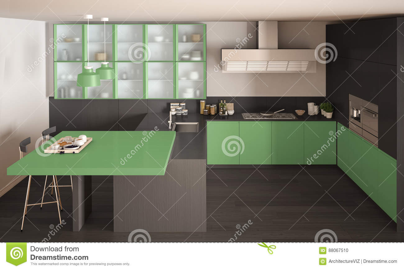 classic minimal gray and green kitchen with parquet floor, moder