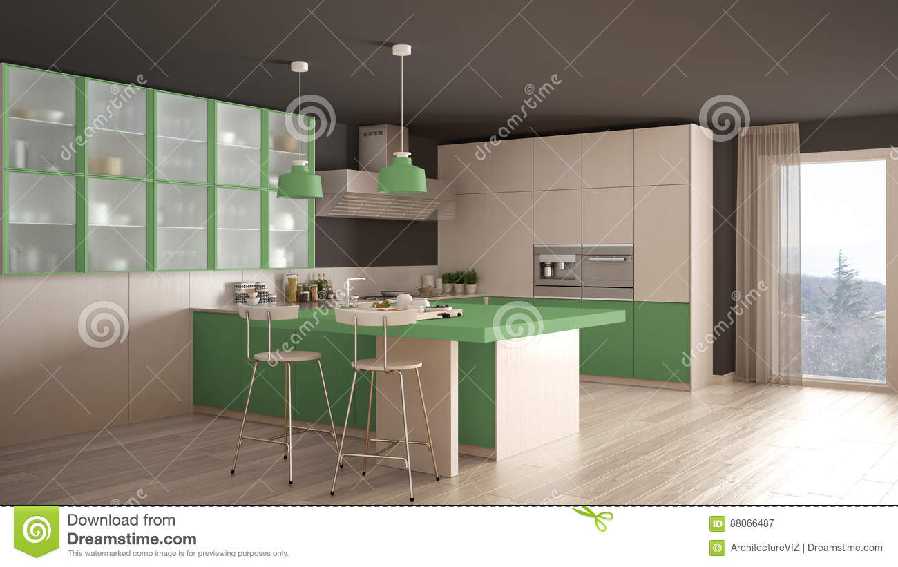 classic minimal white and green kitchen with parquet floor, mode