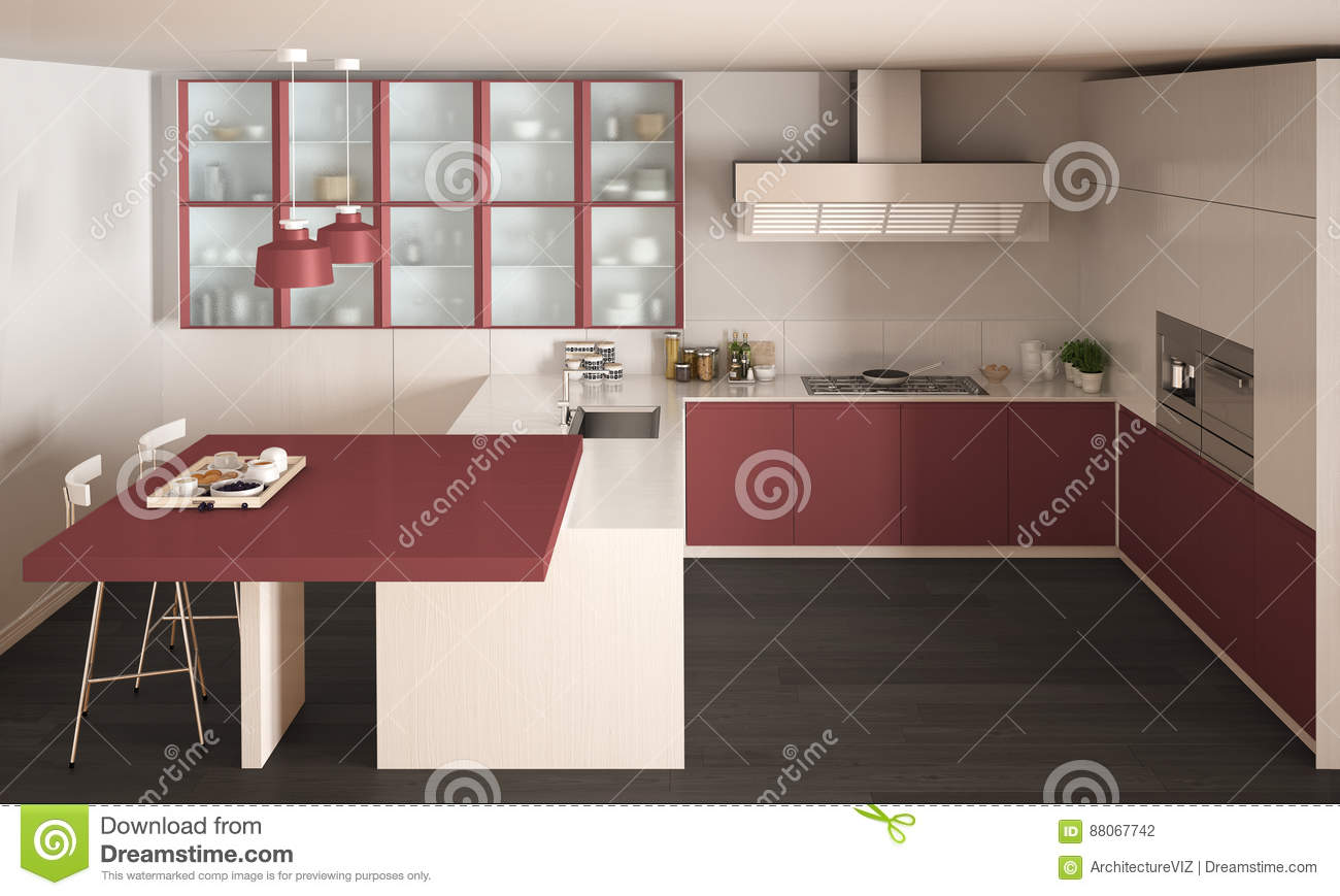 classic minimal white and red kitchen with parquet floor, modern