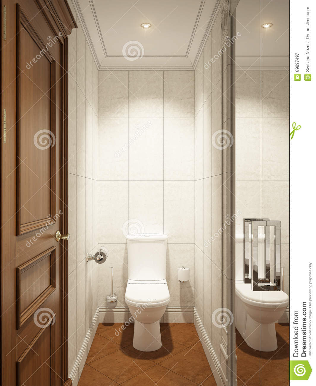 Classic Modern Bathroom WC Interior Design Stock Illustration ...