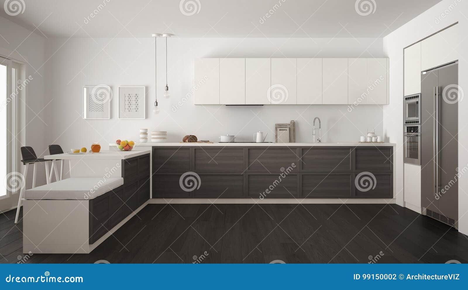Classic Modern Kitchen With Wooden Details And Parquet Floor, Mi ...