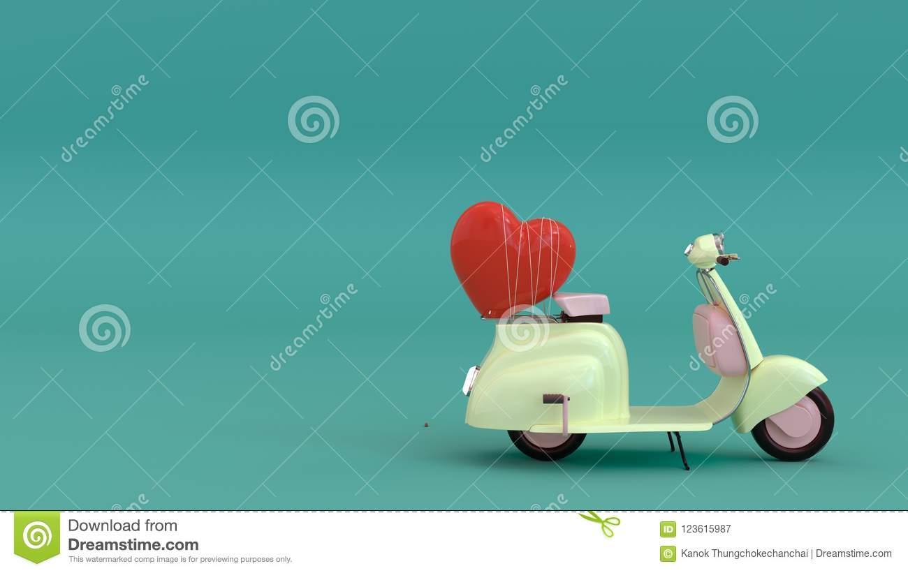 Classic motorcycle with red heart,Come with love,fall in love, 3d illustration ,love you with all my heart