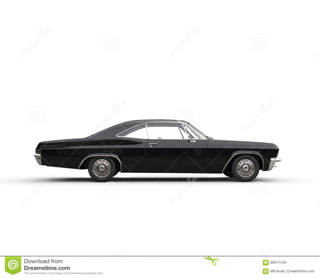 Classic Muscle Black Car Side View Stock Photo Image