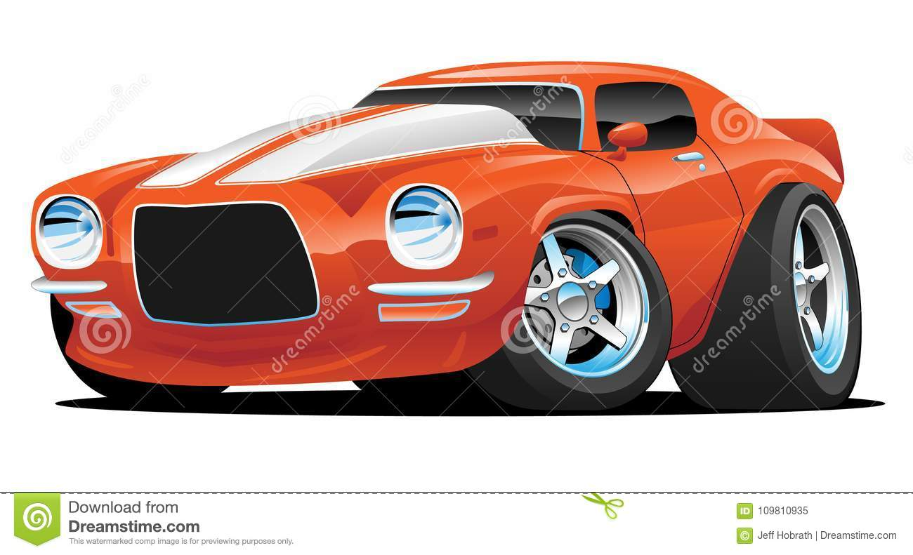 Classic Muscle Car Cartoon Illustration Stock Vector Illustration