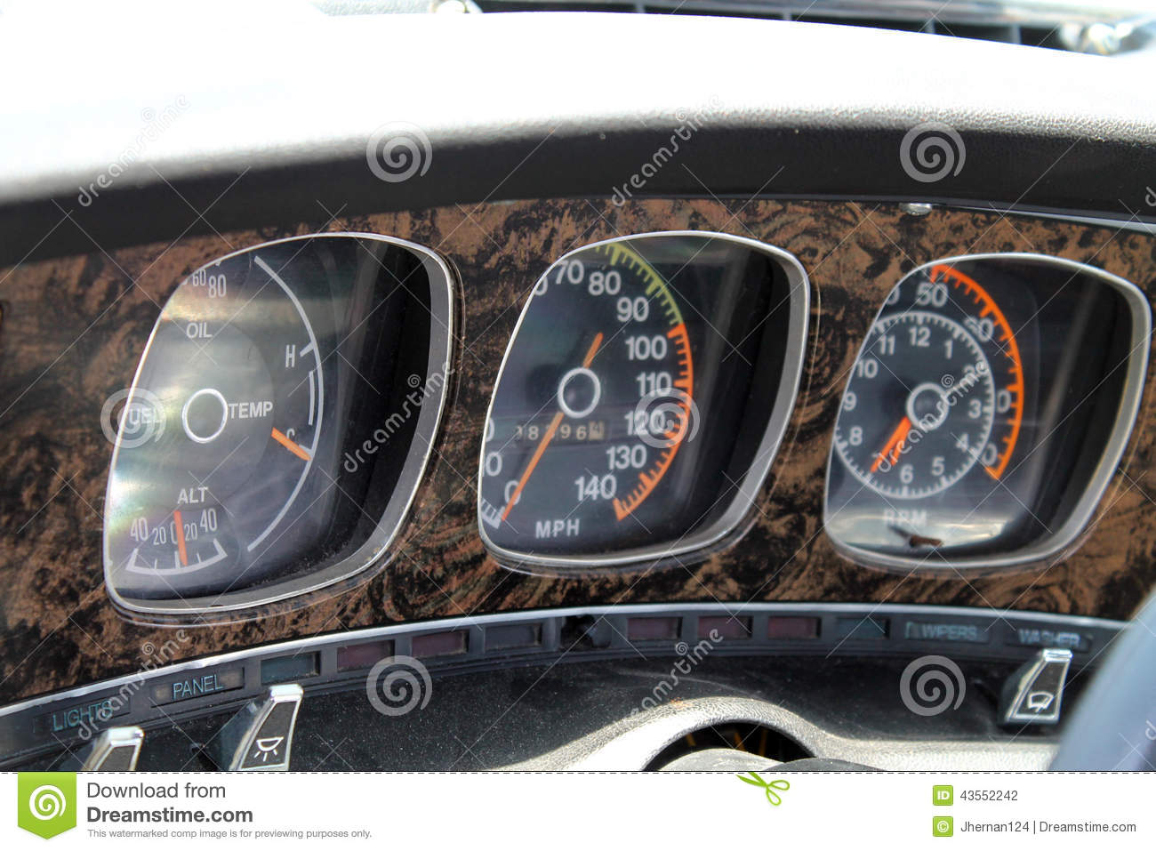 Vehicle Instrument Panel : Classic muscle car gauges stock photo image of control