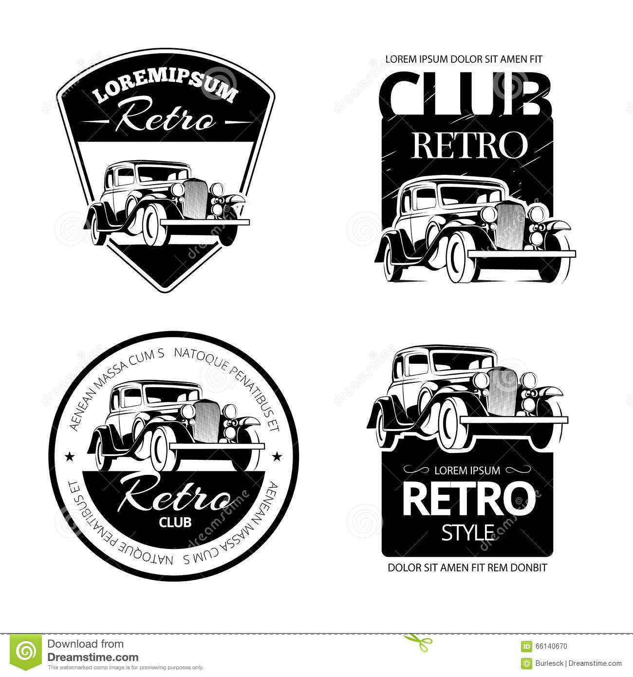Classic Muscle Car Vector Labels Emblems And Badges Set Stock