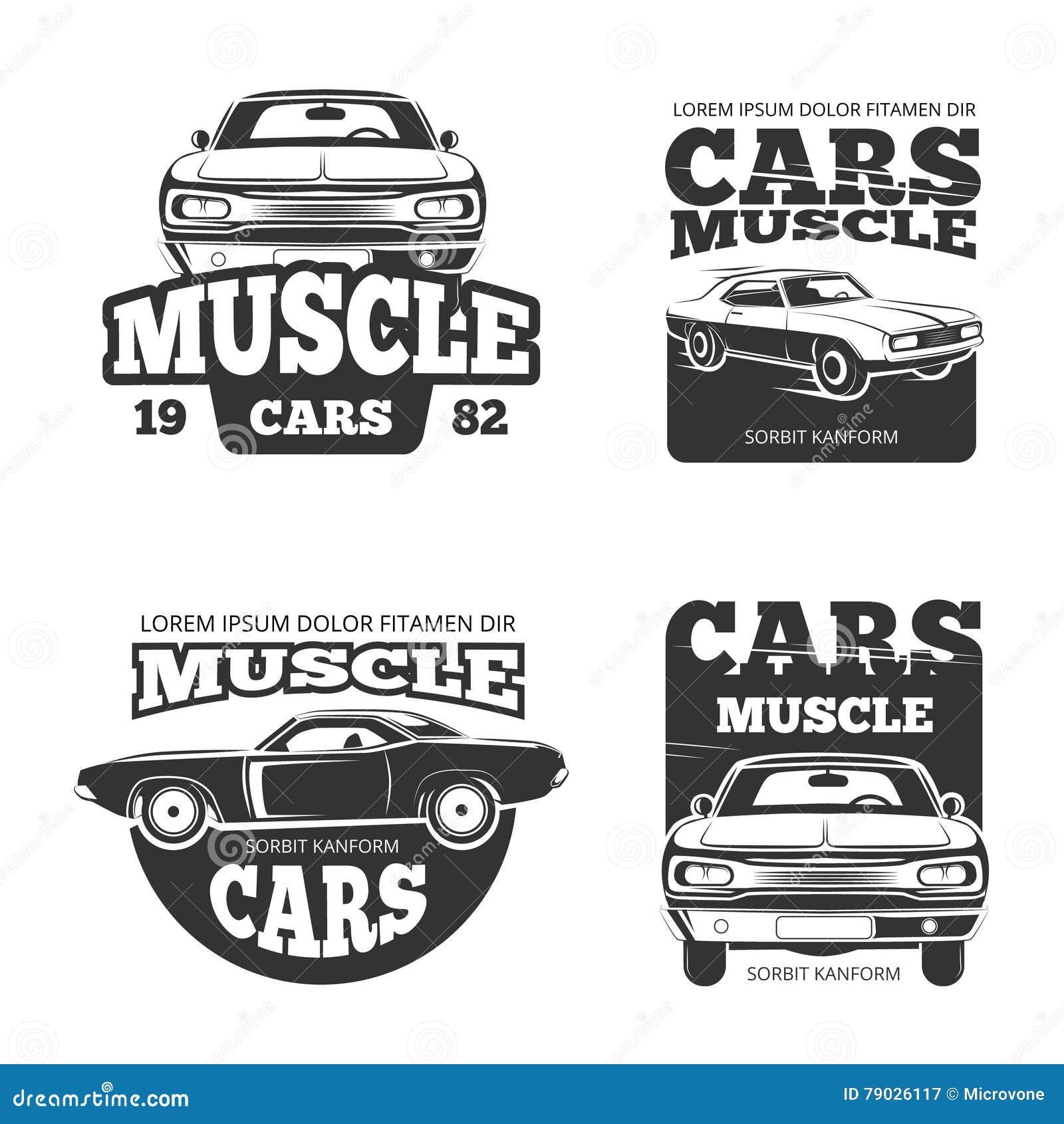 Classic Muscle Car Vintage Vector Labels, Logo, Emblems