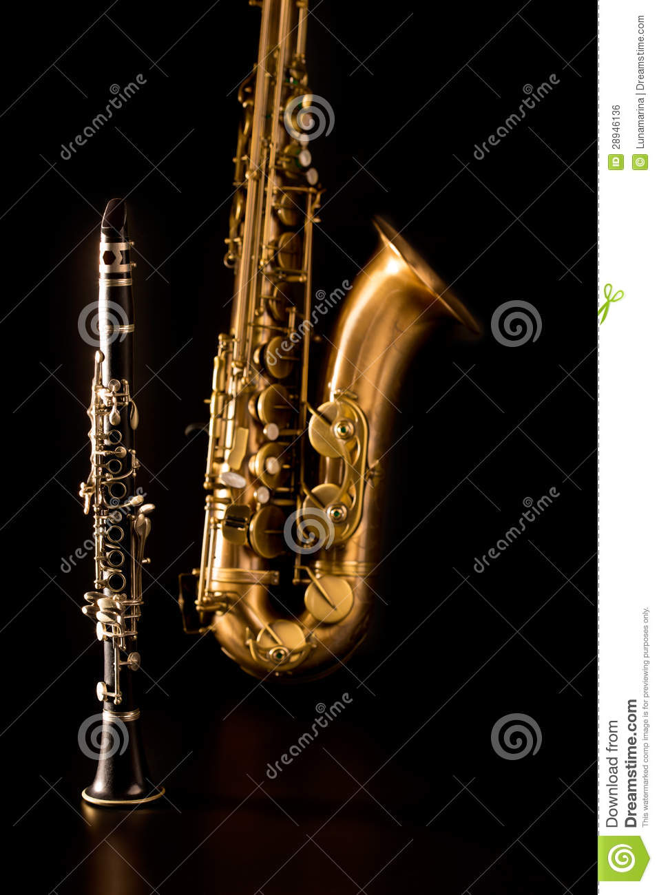 Classic Music Sax Tenor Saxophone And Clarinet In Black Royalty Free Stock Image ...
