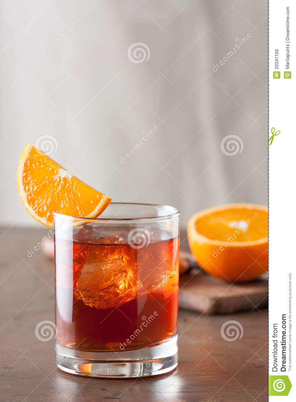 Classic Negroni Cocktail On Wooden Table Royalty Free Stock Images ...