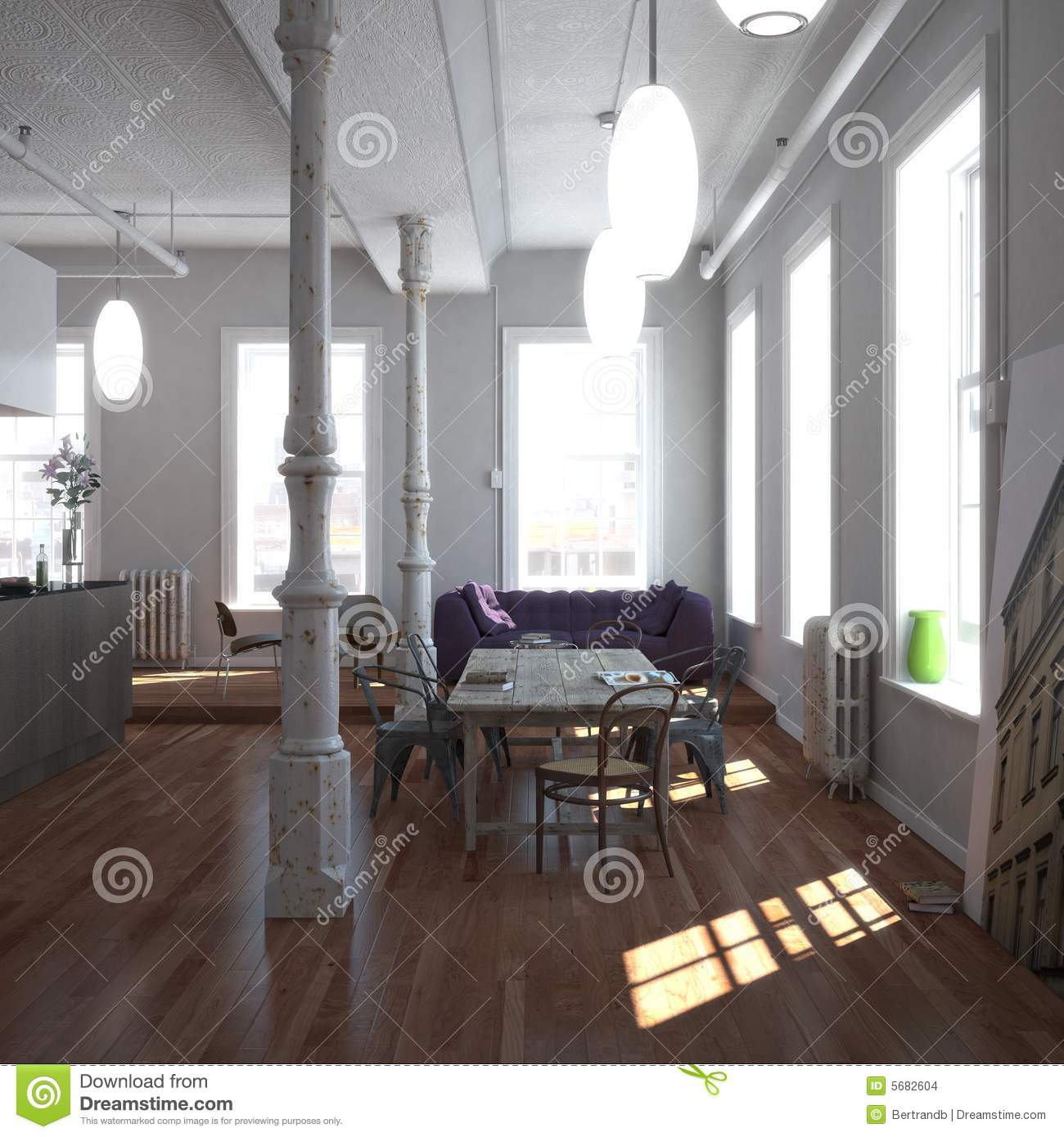 Classic new york loft stock photo image of comfortable for Loft new york affitto