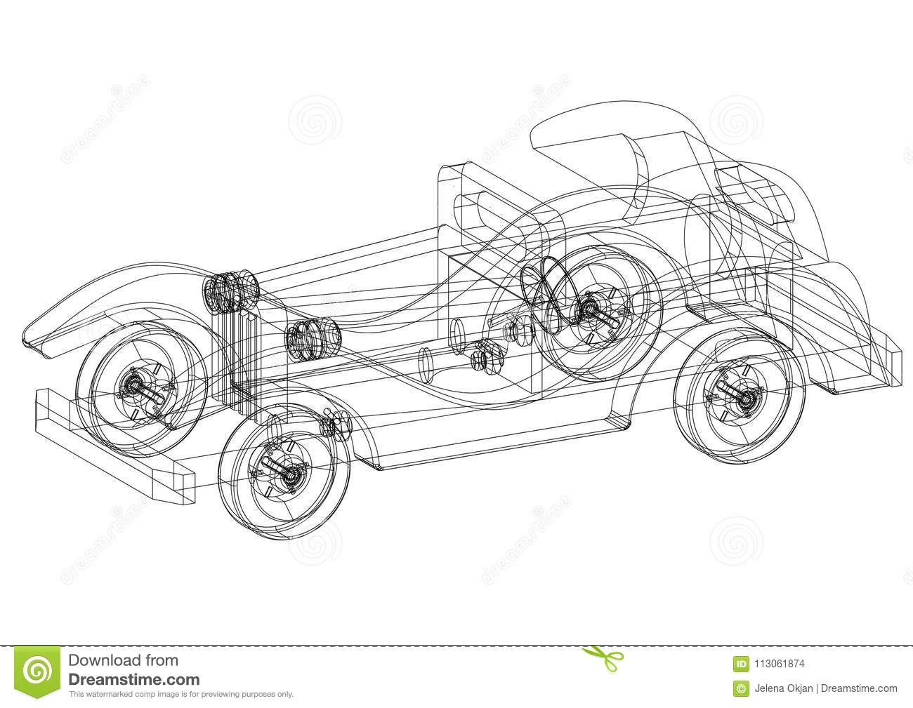 Classic old car 3d blueprint isolated stock illustration download classic old car 3d blueprint isolated stock illustration illustration of engineering graphic malvernweather Image collections