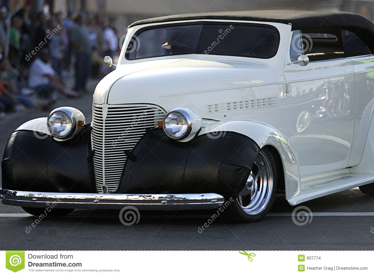 Classic Old Car: White Convertible Stock Photo - Image of fender ...