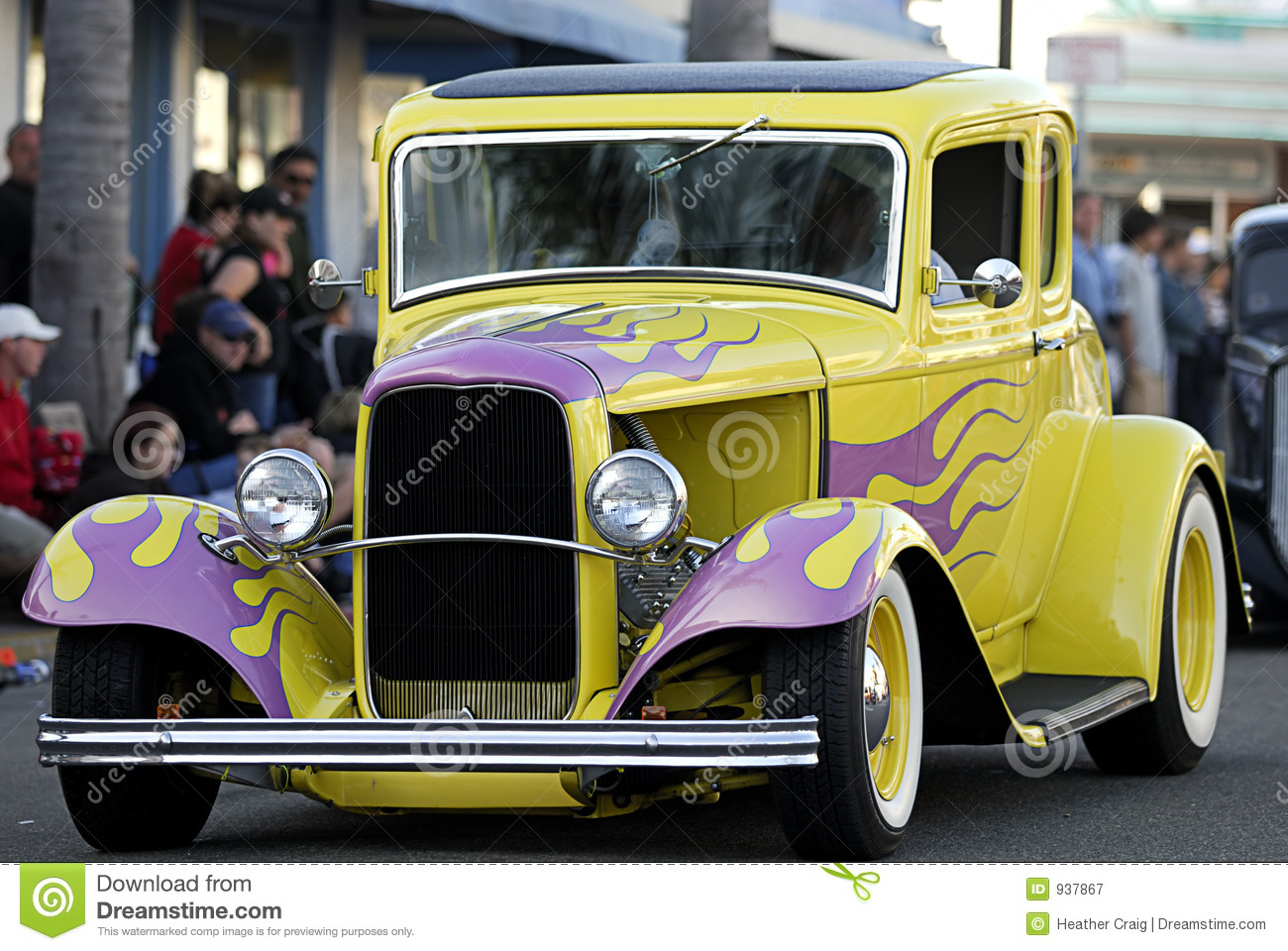 classic old car yellow pink flames royalty free stock photography