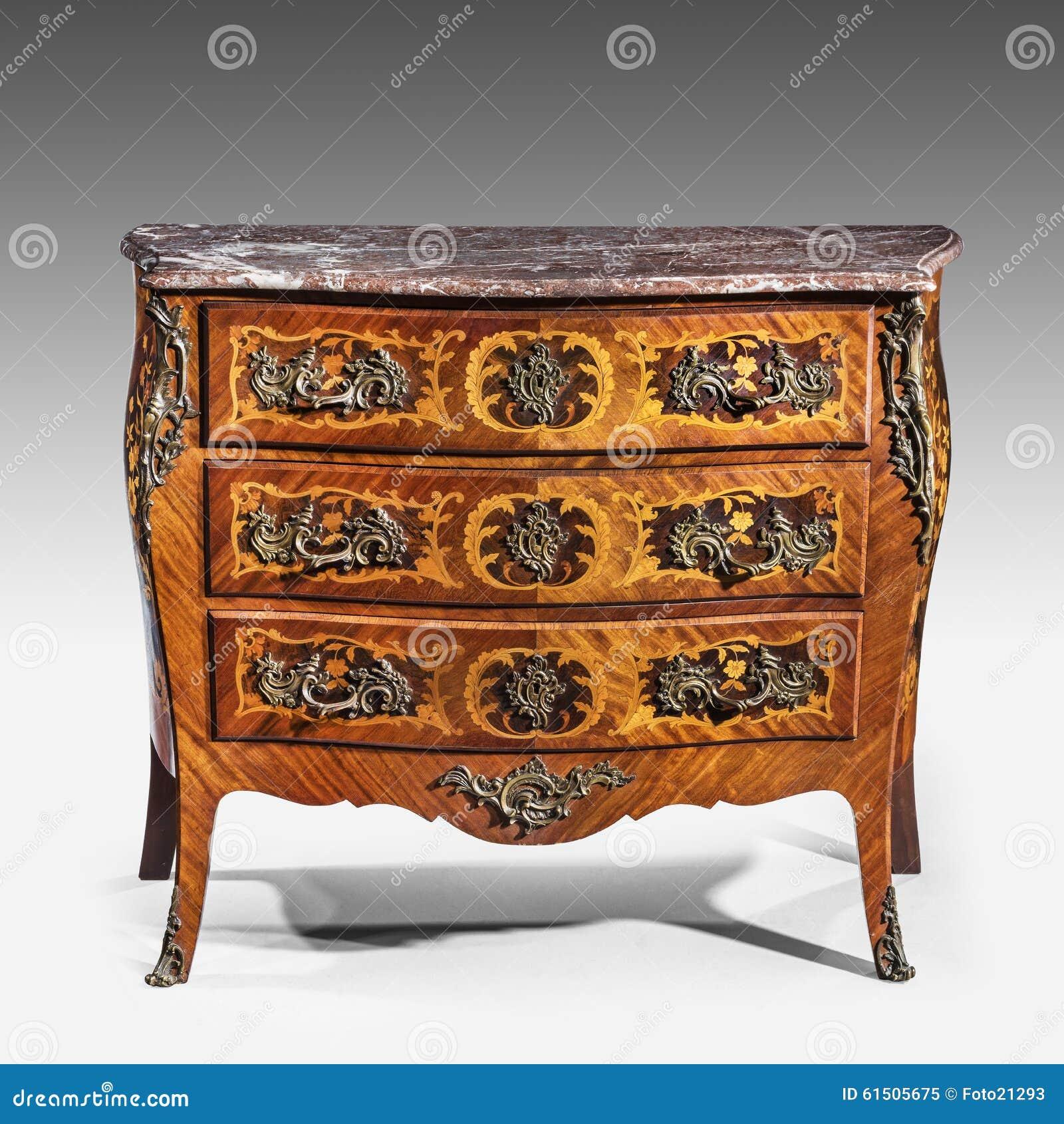 Classic old original elegant vintage wooden chest of drawers bur stock photo image 61505675 - Vintage pieces of furniture old times elegance ...