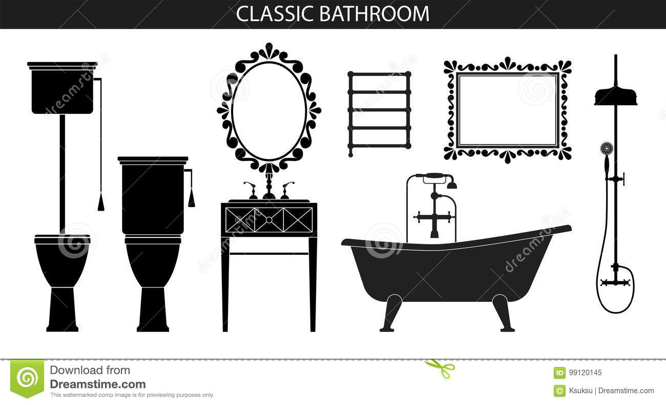 Classic old style furniture for the bathroom stock vector - Old fashioned bathroom furniture ...