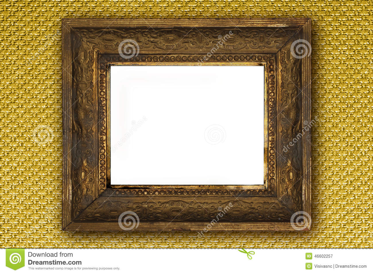 Classic Old Wooden Picture Frame Carved By Hand On Gold