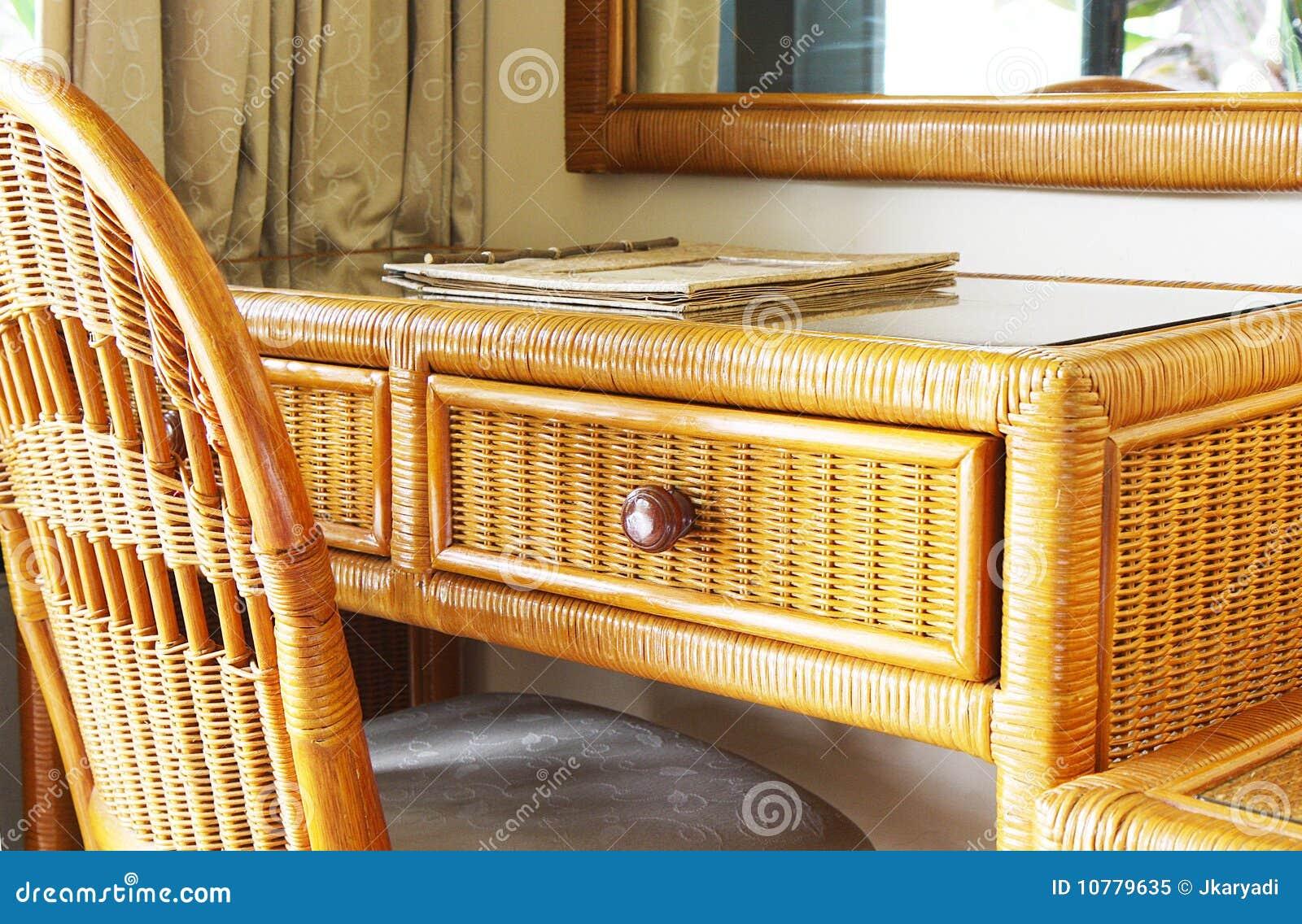 rattan writing desk
