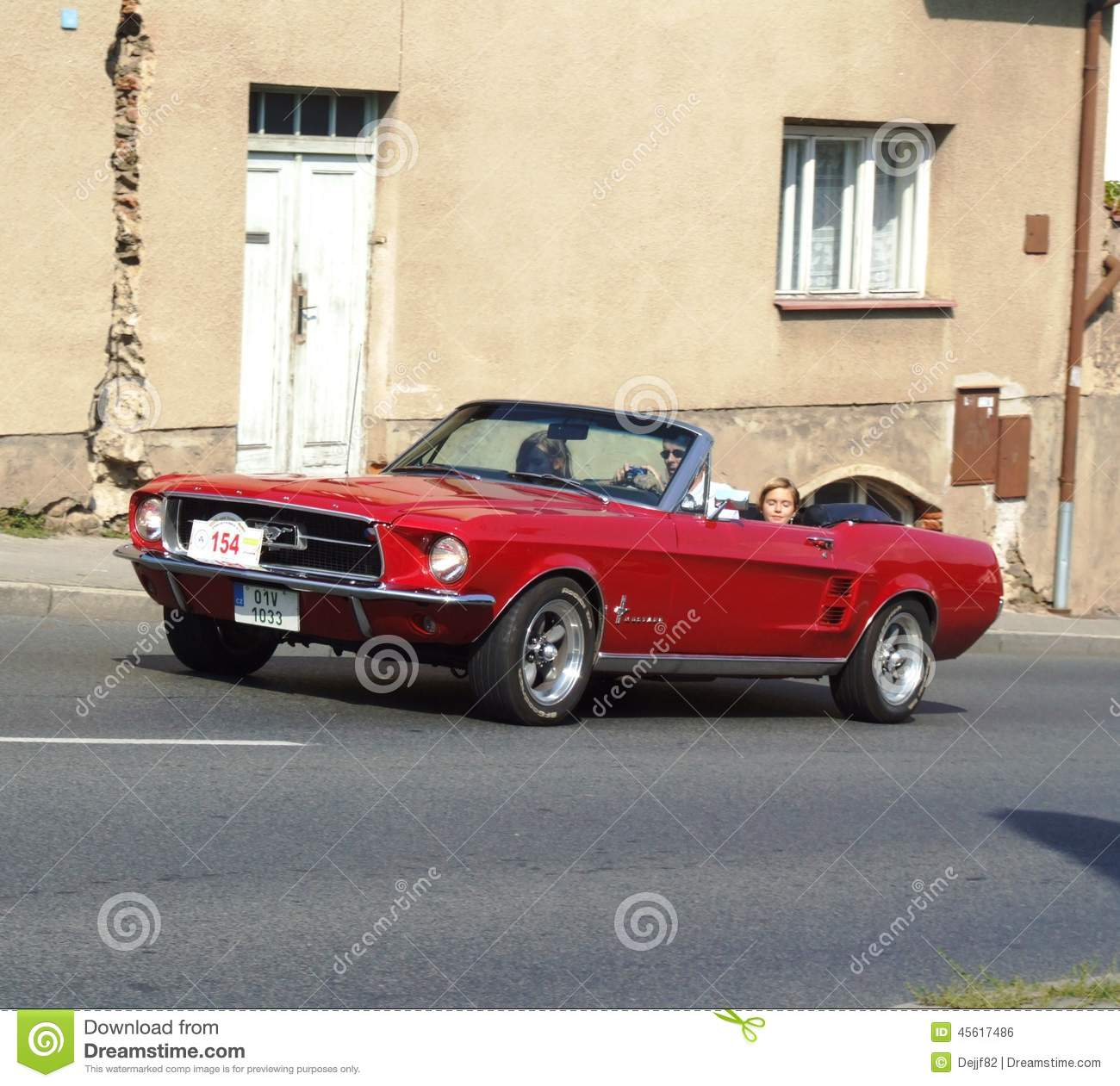 Classic Red American Cabriolet, Ford Mustang Editorial