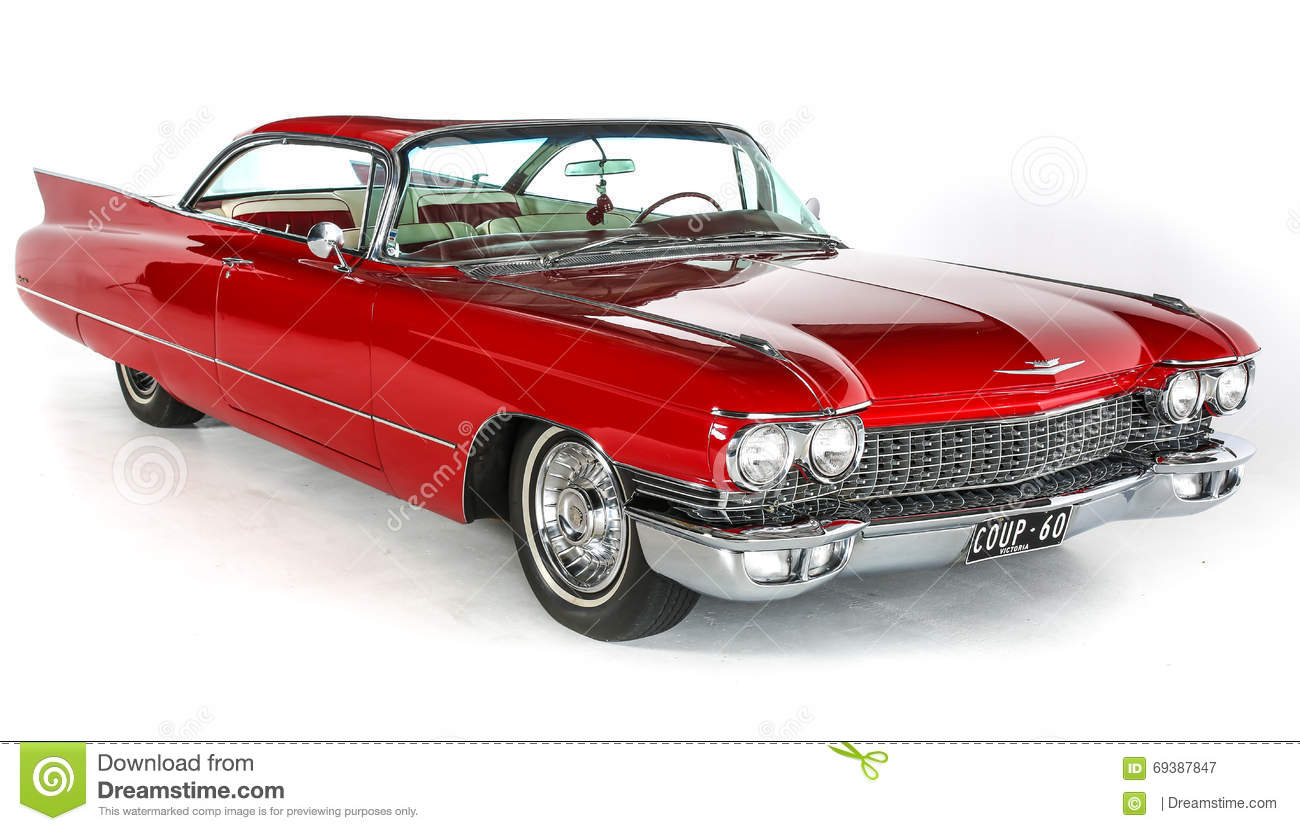 Classic Red Cadillac Coupe Deville Car On White Background