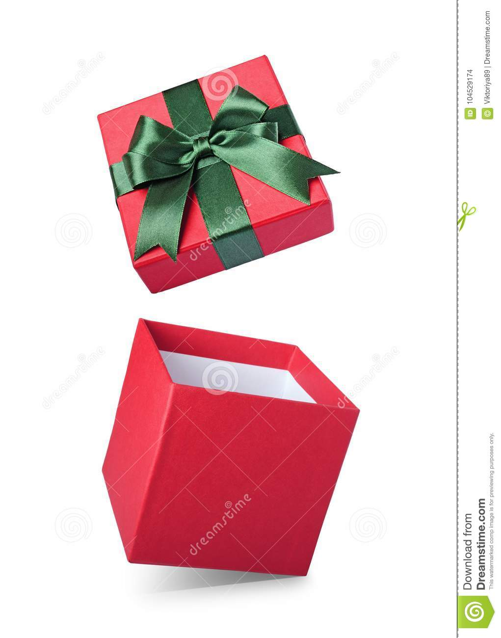 Classic red flying open gift box with green satin bow