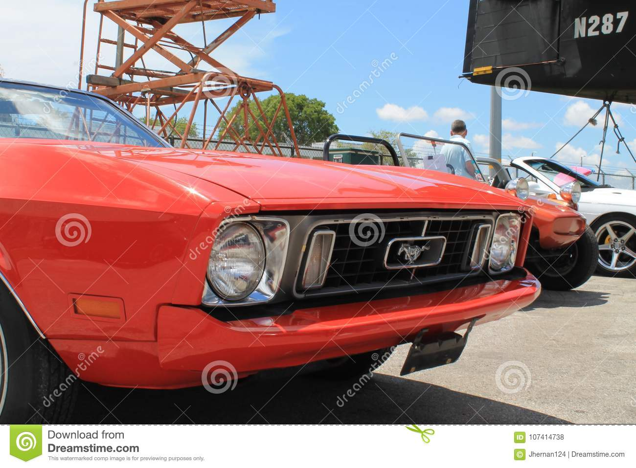 Red Old Ford Mustang Convertible Editorial Stock Photo - Image of ...