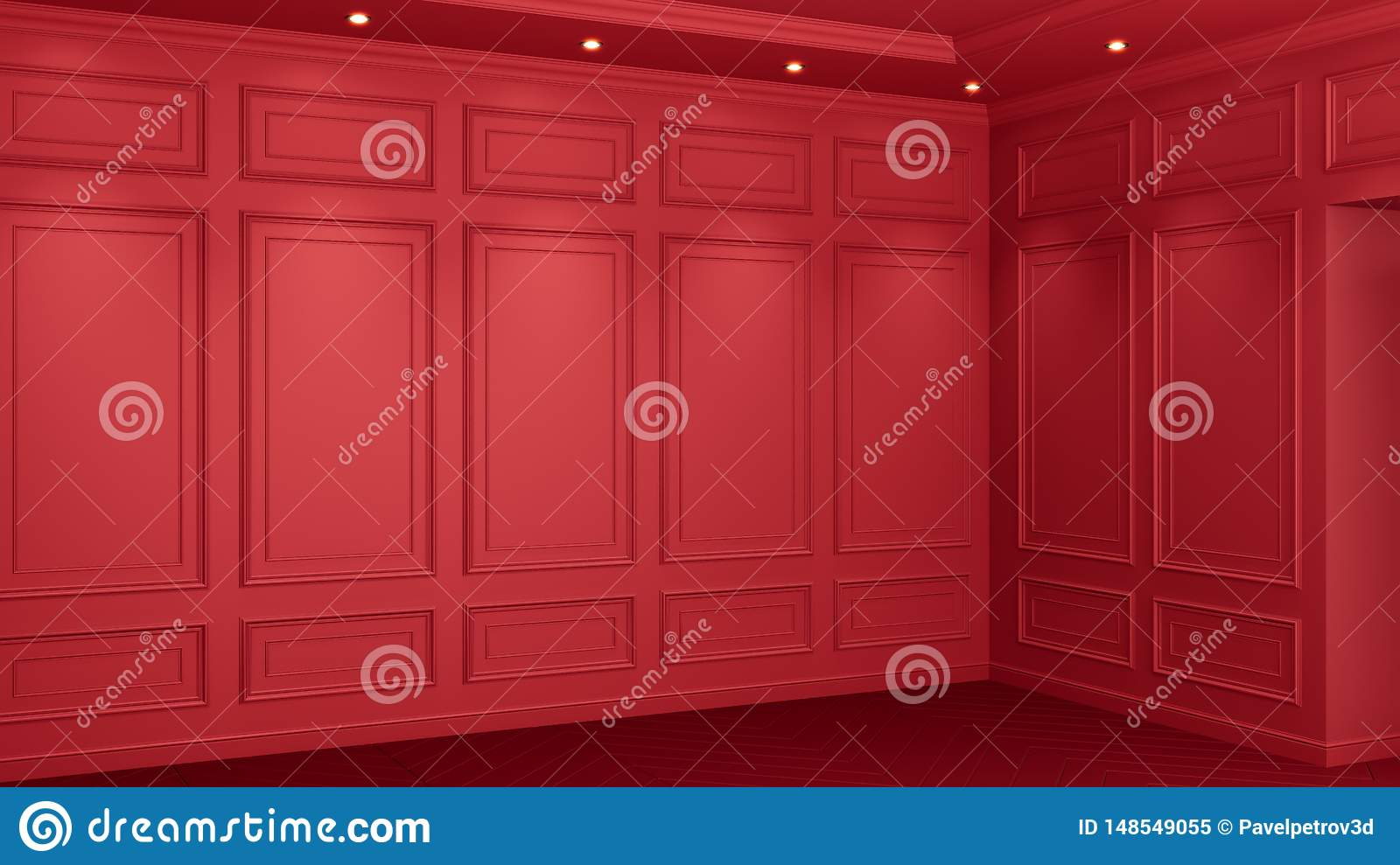 Classic red interior with copy space. Red walls with classical decor. Floor parquet herringbone. 3d rendering