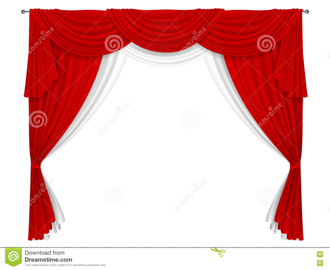 classic red and white curtain stock vector image 71756587. Black Bedroom Furniture Sets. Home Design Ideas
