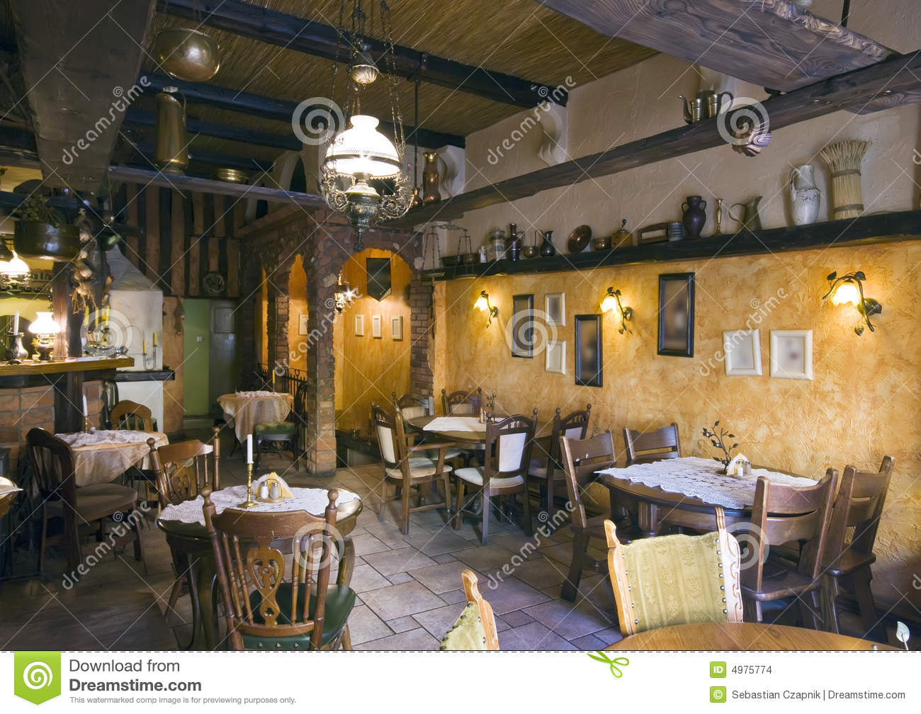 Classic restaurant interior stock photo image of elegant