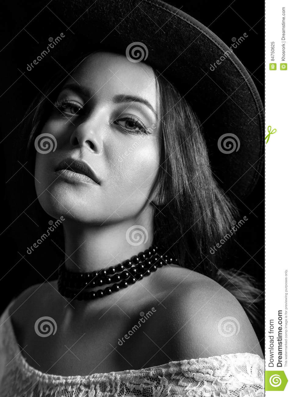 Classic retro beauty portrait black and white photography