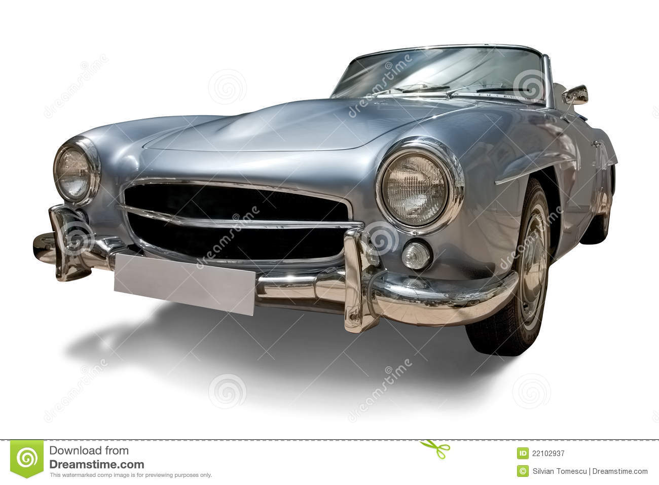Classic Retro Car With Blank Number Plate Stock Image - Image of ...