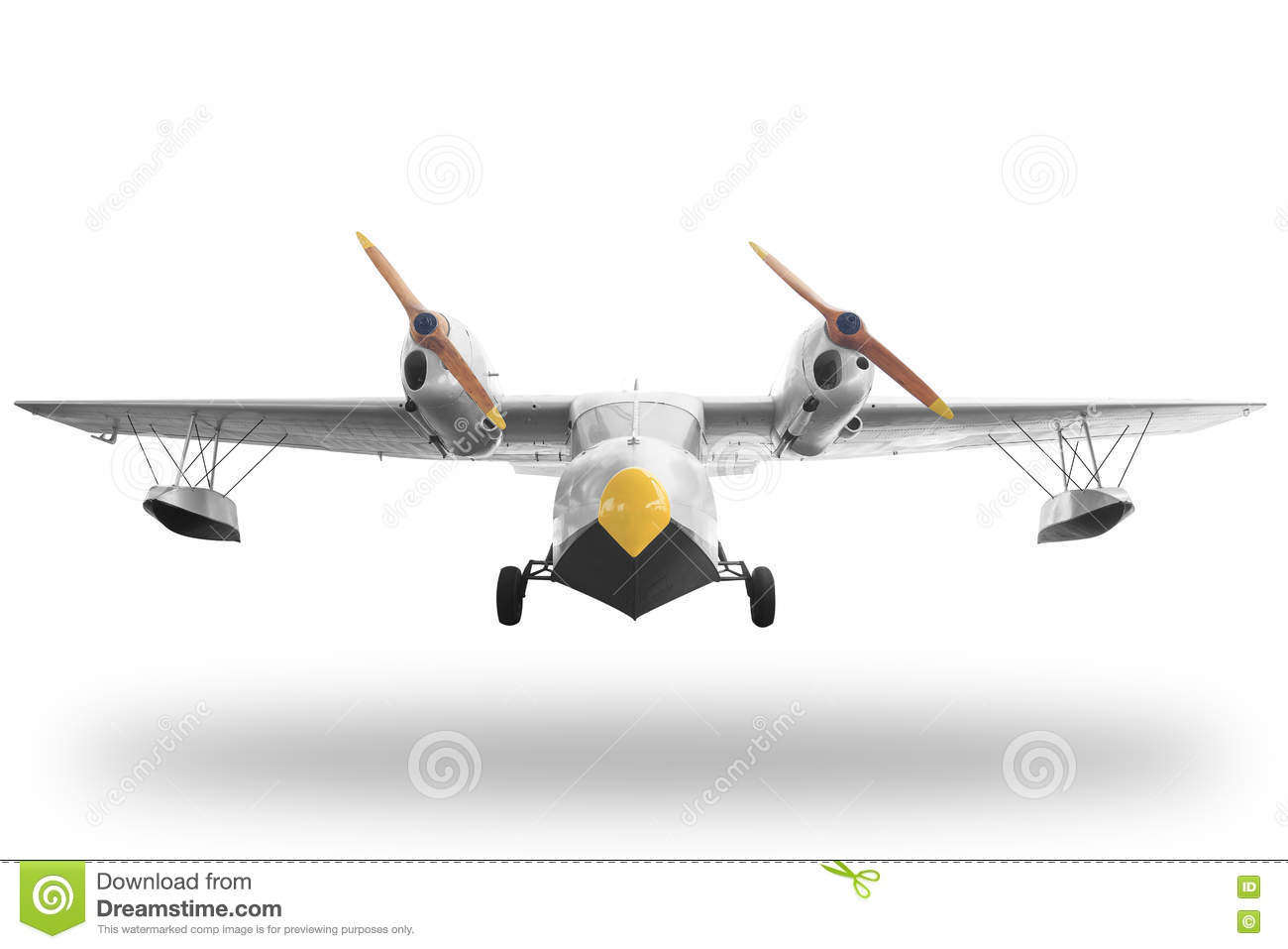 Classic retro style yellow airplane isolated on white background