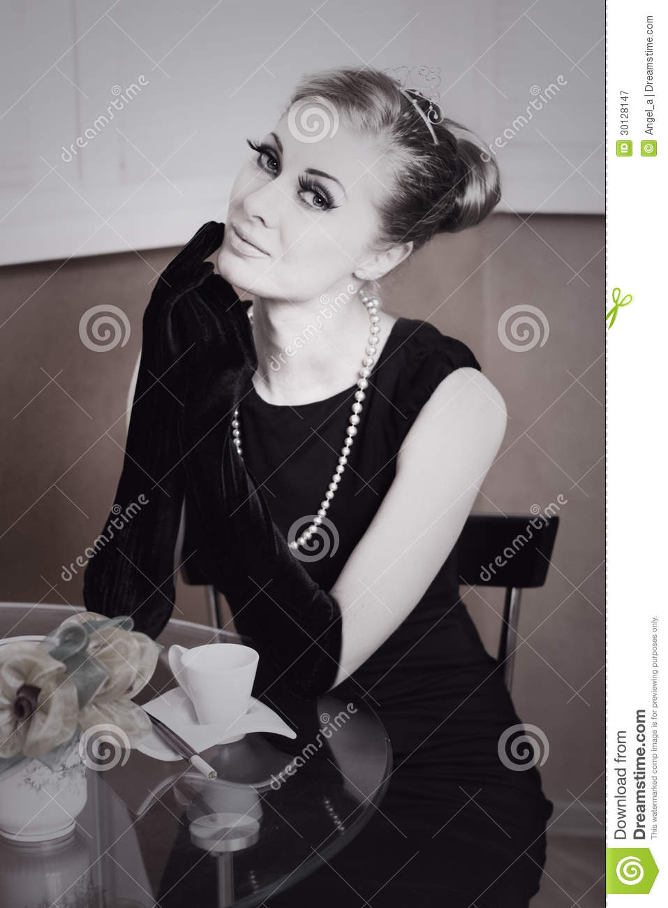Black dress gloves - Retro Styling Woman In Black Dress And Gloves Royalty Free Stock Photography