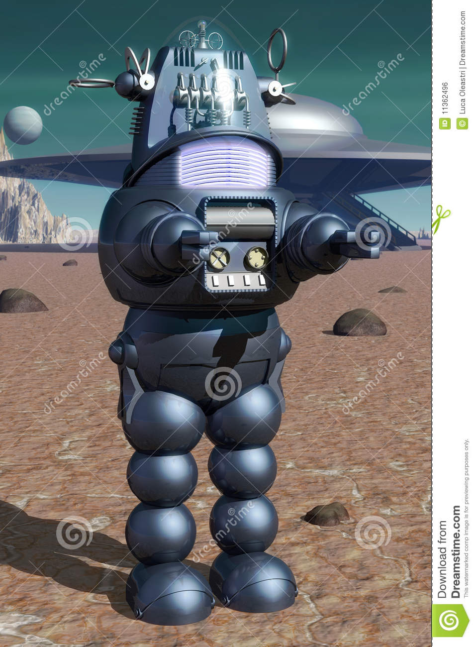 Classic Robot Stock Illustration Image Of Landscape