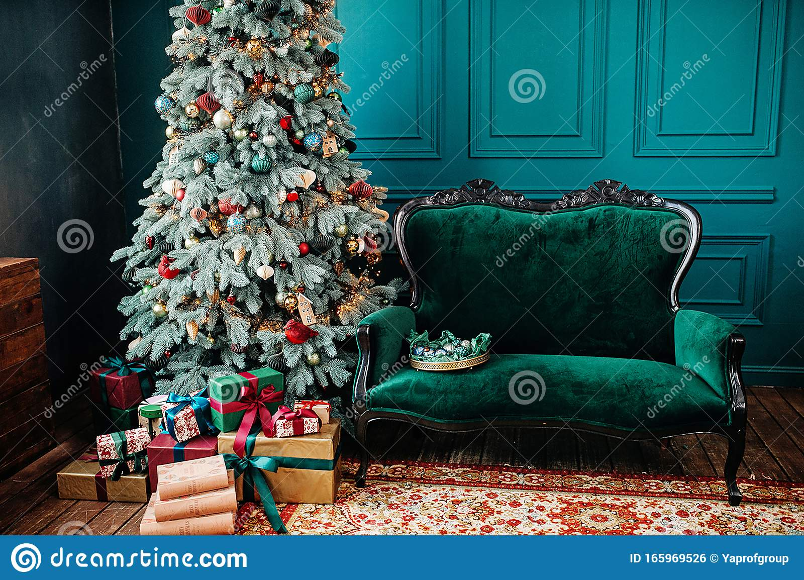Classic Room Interior With Beautiful Christmas Tree And Gift Boxes Stock Photo Image Of Celebration Traditional 165969526