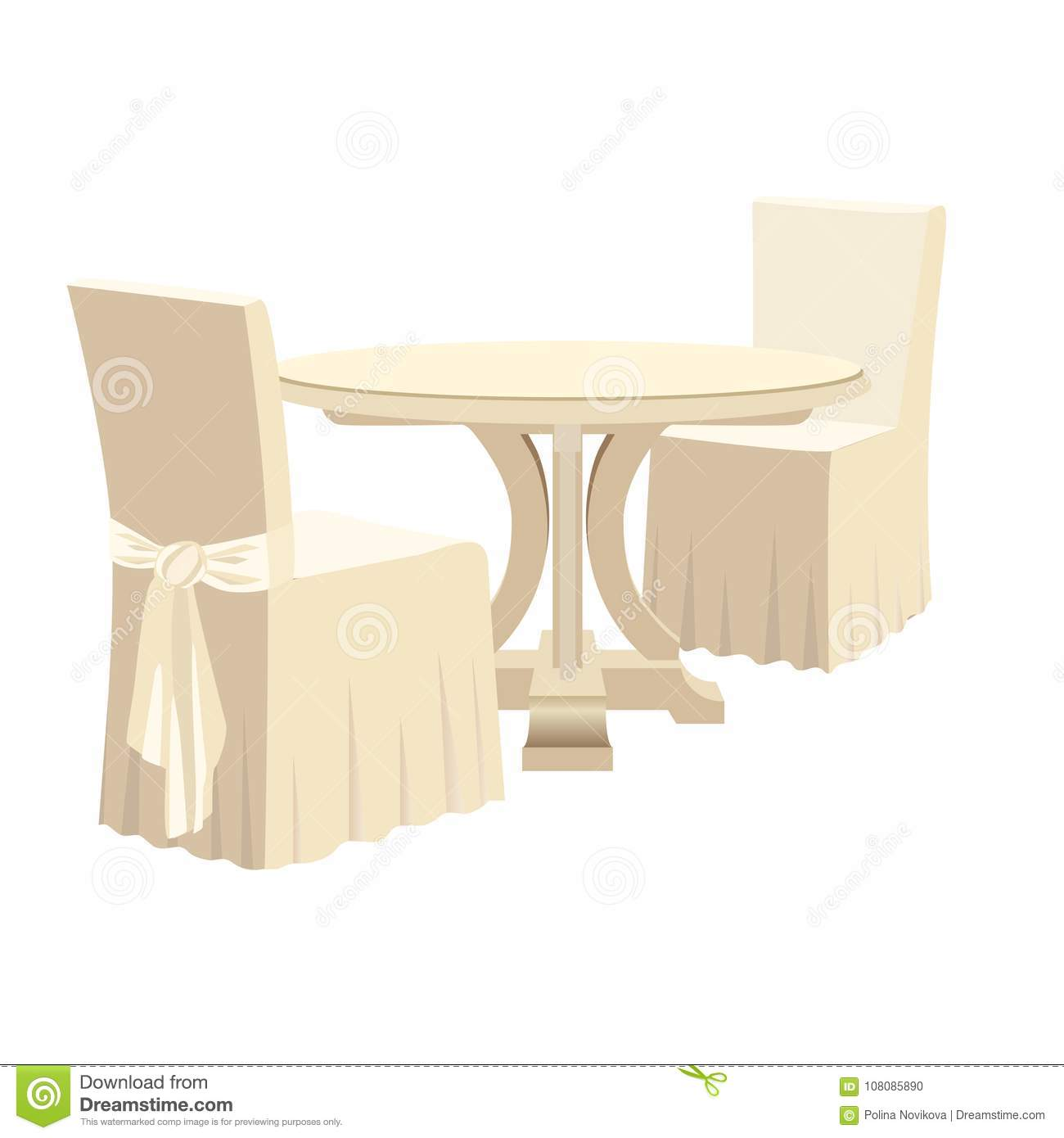 classic round dining table and two chairs with seat cover stock