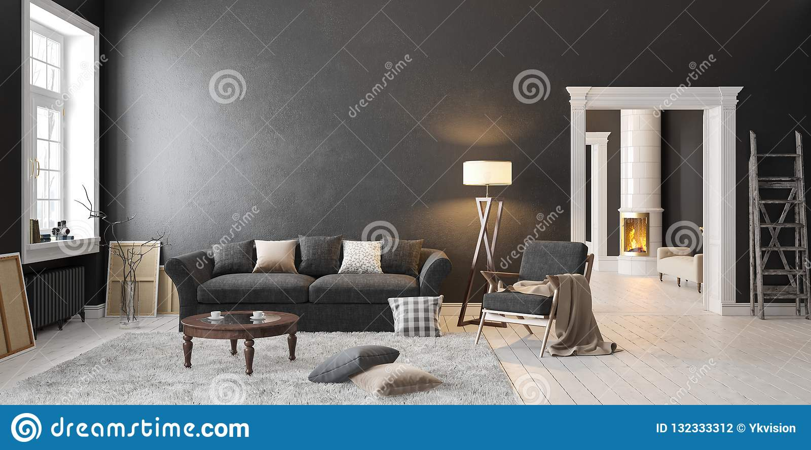 Miraculous Classic Scandinavian Black Interior With Fireplace Sofa Ibusinesslaw Wood Chair Design Ideas Ibusinesslaworg