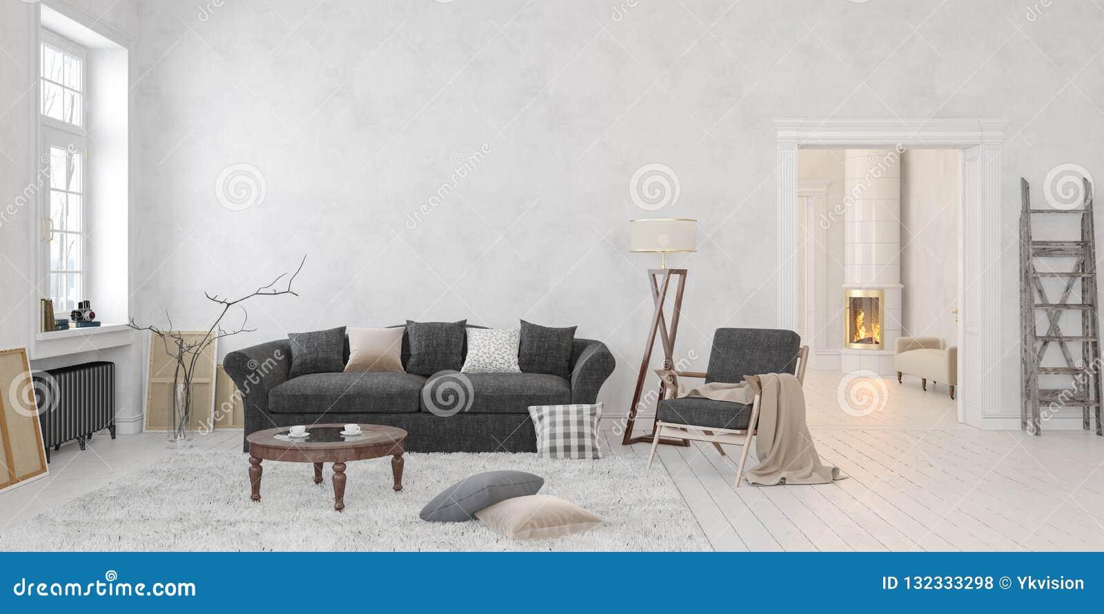 Stupendous Classic Scandinavian White Interior With Fireplace Sofa Theyellowbook Wood Chair Design Ideas Theyellowbookinfo