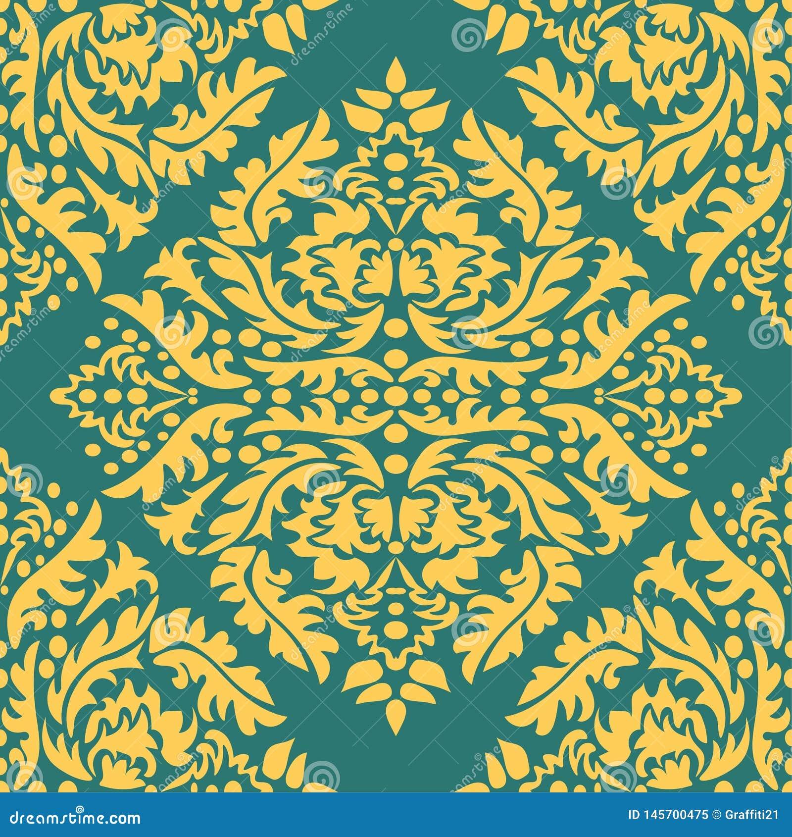 Classic Seamless Vector Pattern. Damask Orient Yellow