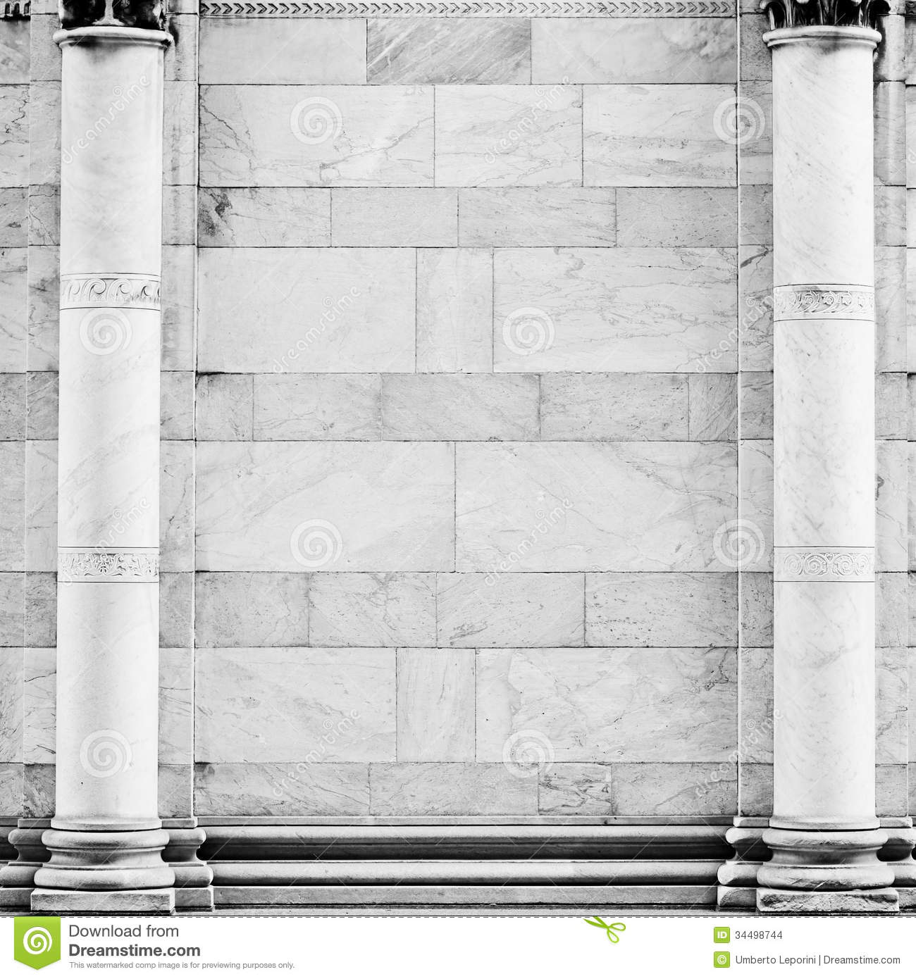 Marble Column Wall : Classic showcase stock images image