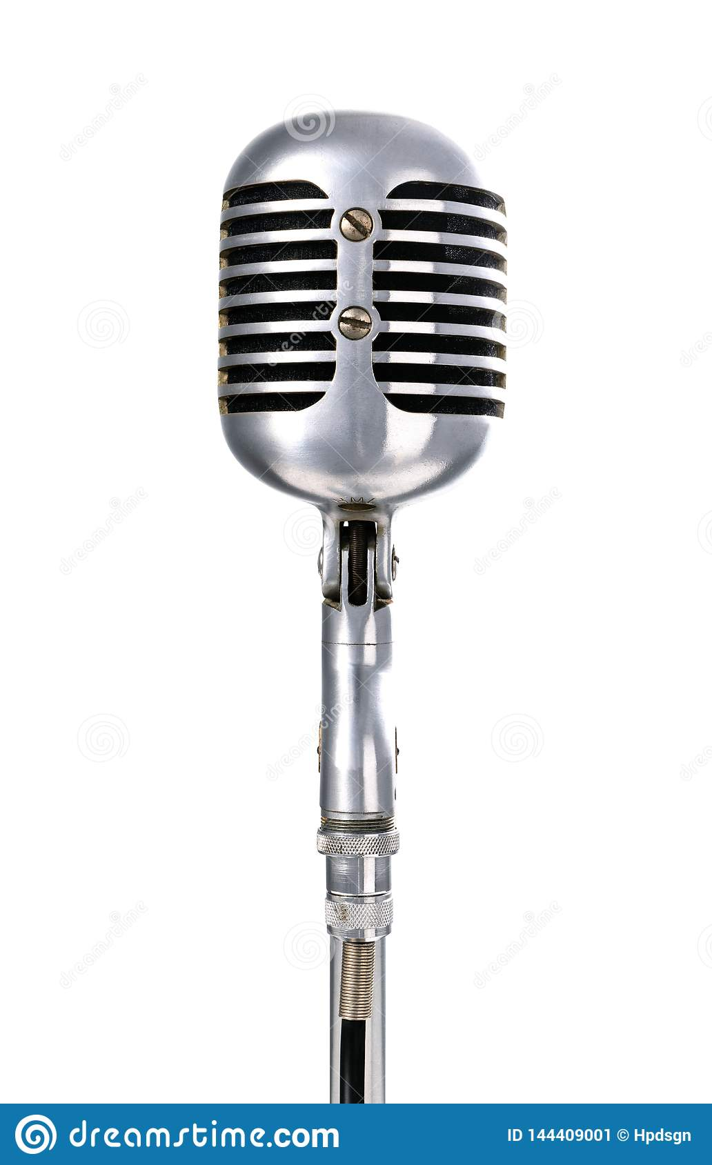 Back view of a Shure 55 vintage microphone